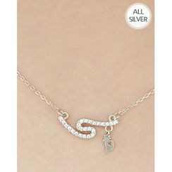 Miss21 Korea - Rhinestone Pendant Chain Silver Necklace