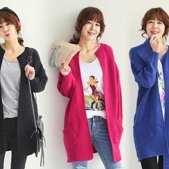 NANING9 - Round-Neck Knit Long Cardigan