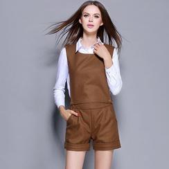 巧妮兒 - 套裝: 長袖襯衫 + 毛呢背帶短褲