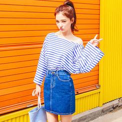 chuu - Plain Denim Mini Skirt