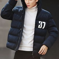 Bay Go Mall - Number Print Hooded Padded Coat
