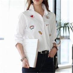 CHICFOX - Embroidered Patch Shirt