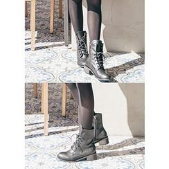 Chlo.D.Manon - Lace-Up Military Short Boots