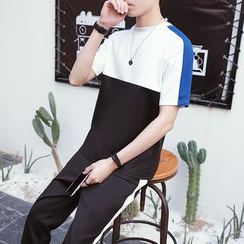 Danjieshi - Set: Color Block Short-Sleeve T-Shirt + Sweatpants