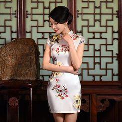 Janelle Qipao - Cap-Sleeved Printed Silk Qipao