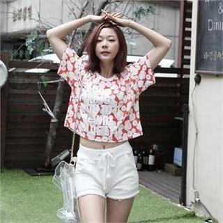 FOXJ - Short-Sleeve Patterned Cropped T-Shirt