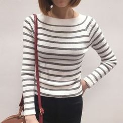 YUKISHU - Striped Long Sleeve Knit Top