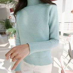 Hello sweety - Mock-Neck Slit-Hem Sweater