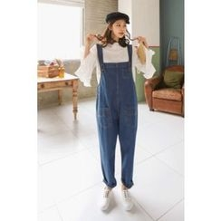 PPGIRL - Pocket-Detail Denim Suspender Pants