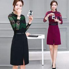 EFO - Long-Sleeve Lace-Panel Slit-Front Dress