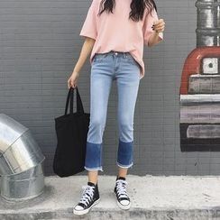 Chililala - Color Panel Cropped Jeans