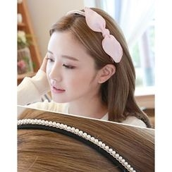 Miss21 Korea - Bow Faux-Pearl Trim Hair Band