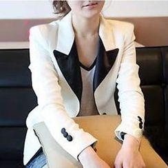 Raisin - 套装: 撞色西装外套 + V领上衣