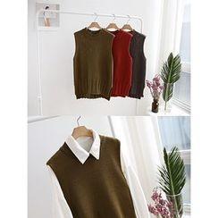 hellopeco - Slit-Side Knit Vest