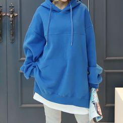 DANI LOVE - Hooded Zip-Detail Layered-Hem Pullover