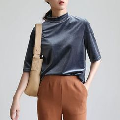 ELLY - Stand Collar Elbow-Sleeve T-Shirt
