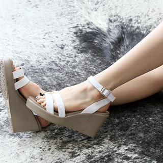 NANING9 - Faux-Leather Wedge Sandals