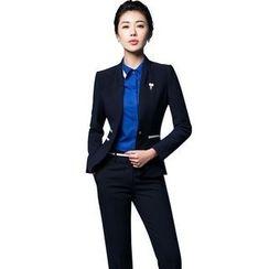Aision - Single-Button Blazer / Blouse / Vest / Pants