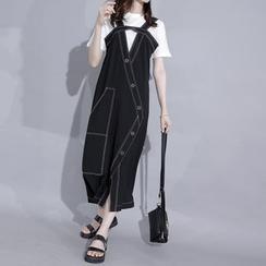 Sonne - 鏤空設計明線背帶裙