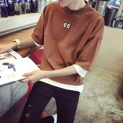 ZZP HOMME - Elbow-Sleeve Embroidered T-Shirt