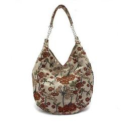 Glam Cham - Floral Embroidered Shoulder Bag