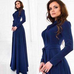 Hanni - Long-Sleeve Plain Maxi Dress