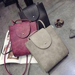 Youme - Faux Leather Flap Shoulder Bag