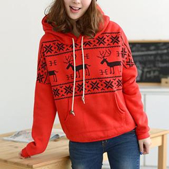59 Seconds - Nordic-Print Hooded Pullover
