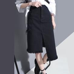 Sonne - Asymmetric-Hem Fray-Edge Denim Skirt