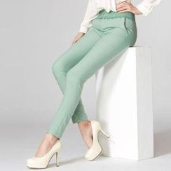 O.SA - Crochet-Waistline Slim-Fit Pants