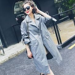 LRZ - Plain Linen Cotton Trench Coat