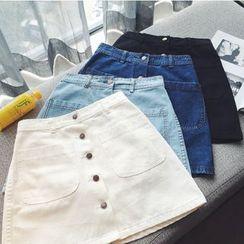 Shopherd - Buttoned A-Line Denim Skirt