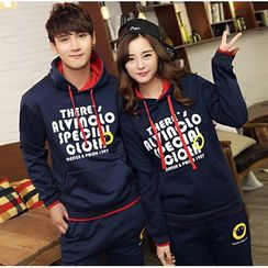 Kieran - Couple Matching Set: Lettering Hoodie + Sweatpants