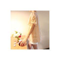 LEELIN - 短袖通花蕾絲上衣