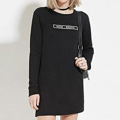 Richcoco - Lettering Long-Sleeve T-Shirt Dress