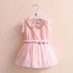 Seashells Kids - Kids Sleeveless Collared Tulle Dress