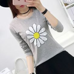 Cottony - Sequined Flower Long Sleeve T-Shirt