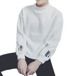 DragonRoad - Embroidered Mock Neck Sweatshirt