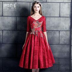 靜世奇緣 - 中袖刺繡禮服裙
