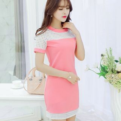 YUMU - Short-Sleeve Mesh Panel Sheath Dress