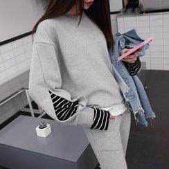 DABAGIRL - Striped Slit-Sleeve Cotton Sweatshirt