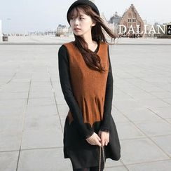 OrangeBear - Color-Block Sleeveless A-Line Dress