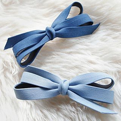 Azalea - Denim Ribbon Hair Clip