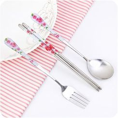Desu - Floral Print Stainless Steel Cutlery Set