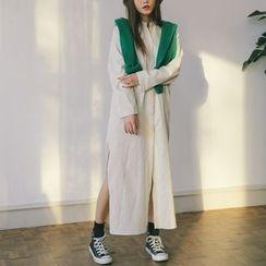 Jolly Club - Slit-Side Long Shirtdress