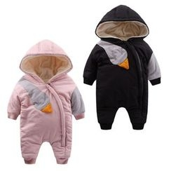 Madou - Baby Hooded Color-Block One-Piece
