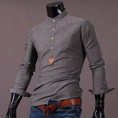 Seoul Homme - Half-Placket Slim-Fit Shirt
