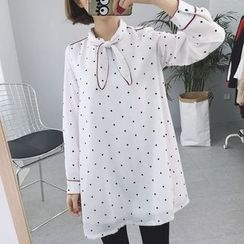 Rocho - Long-Sleeve Dotted Dress