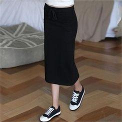 CHICFOX - Brushed-Fleece Lined Long Skirt