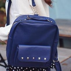 Bongjashop - Faux-Leather Studded Backpack